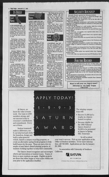 Daily Trojan, Vol. 119, No. 6, January 21, 1993