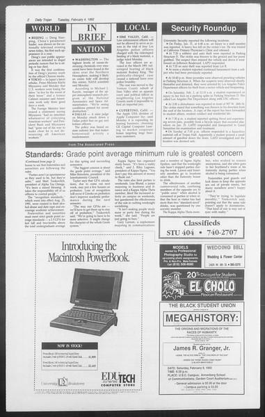 Daily Trojan, Vol. 117, No. 14, February 04, 1992