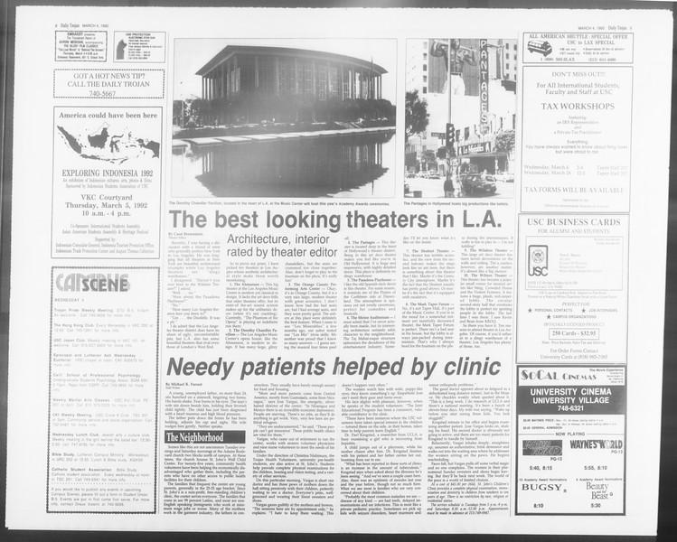 Daily Trojan, Vol. 117, No. 33, March 04, 1992