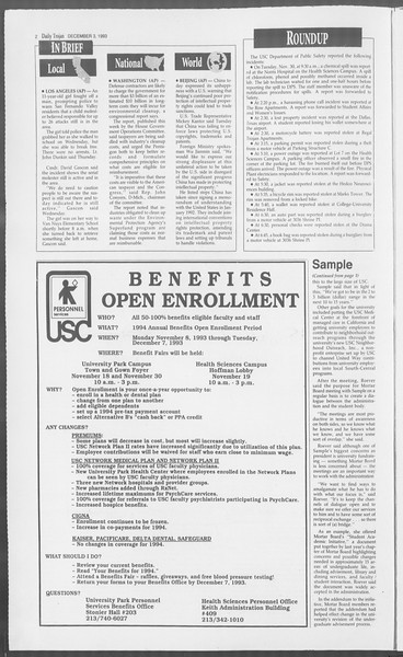 Daily Trojan, Vol. 121, No. 63, December 03, 1993