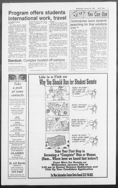 Daily Trojan, Vol. 117, No. 10, January 29, 1992