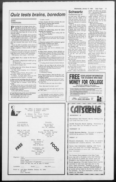 Daily Trojan, Vol. 117, No. 2, January 15, 1992
