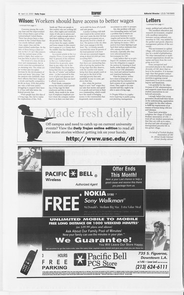 Daily Trojan, Vol. 139, No. 57, April 13, 2000