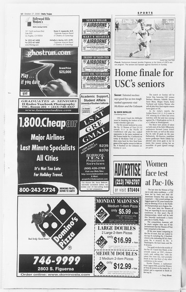 Daily Trojan, Vol. 141, No. 42, October 27, 2000