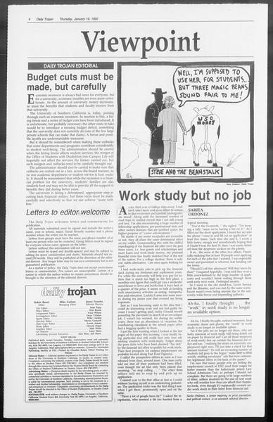 Daily Trojan, Vol. 117, No. 3, January 16, 1992
