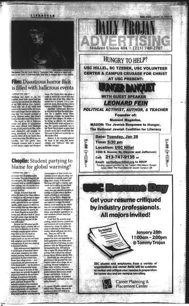 Daily Trojan, Vol. 148, No. 9, January 28, 2003