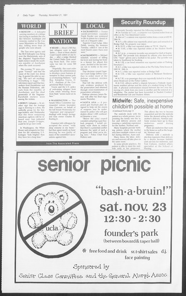 Daily Trojan, Vol. 116, No. 57, November 21, 1991