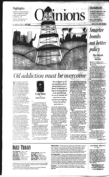 Daily Trojan, Vol. 148, No. 40, March 25, 2003