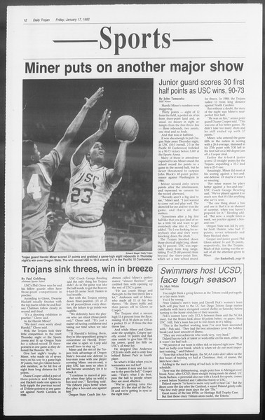 Daily Trojan, Vol. 117, No. 4, January 17, 1992