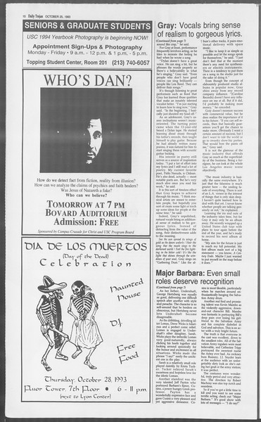 Daily Trojan, Vol. 121, No. 39, October 25, 1993