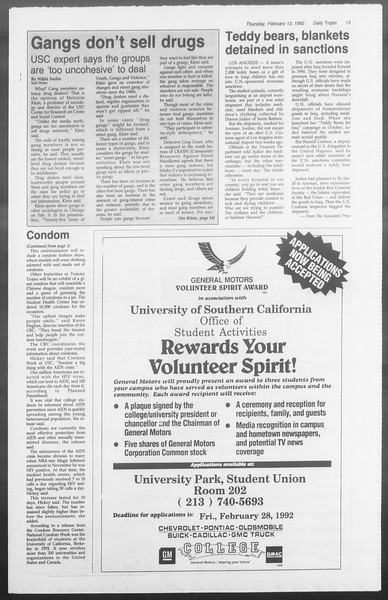 Daily Trojan, Vol. 117, No. 21, February 13, 1992