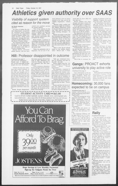 Daily Trojan, Vol. 116, No. 34, October 18, 1991