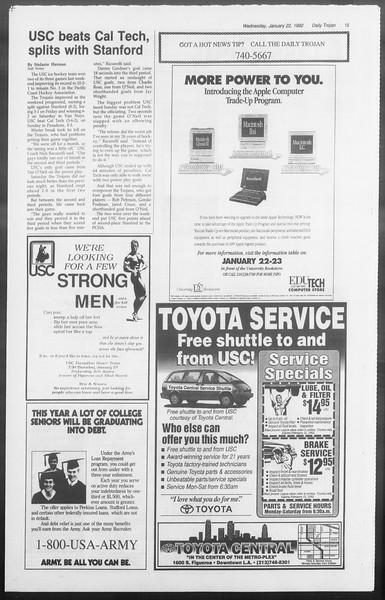 Daily Trojan, Vol. 117, No. 5, January 22, 1992