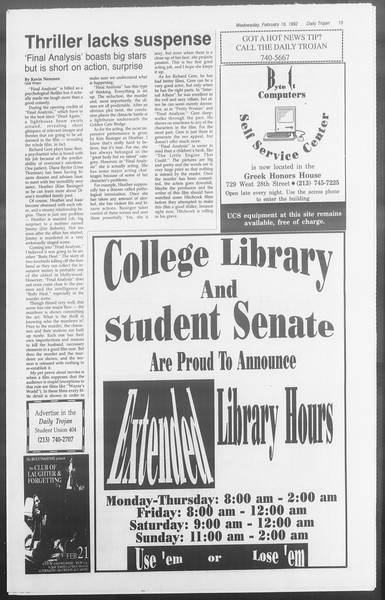 Daily Trojan, Vol. 117, No. 23, February 19, 1992