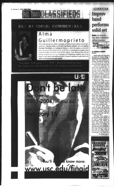 Daily Trojan, Vol. 148, No. 19, February 11, 2003