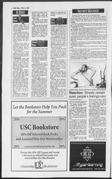 Daily Trojan, Vol. 119, No. 60, April 19, 1993