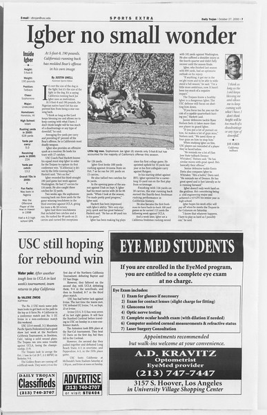 Daily Trojan, Vol. 141, No. 42, October 27, 2000