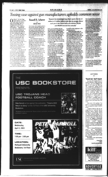 Daily Trojan, Vol. 148, No. 45, April 01, 2003