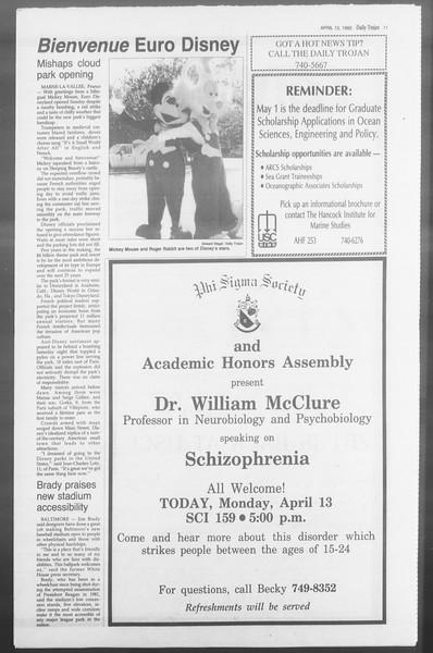 Daily Trojan, Vol. 117, No. 55, April 13, 1992
