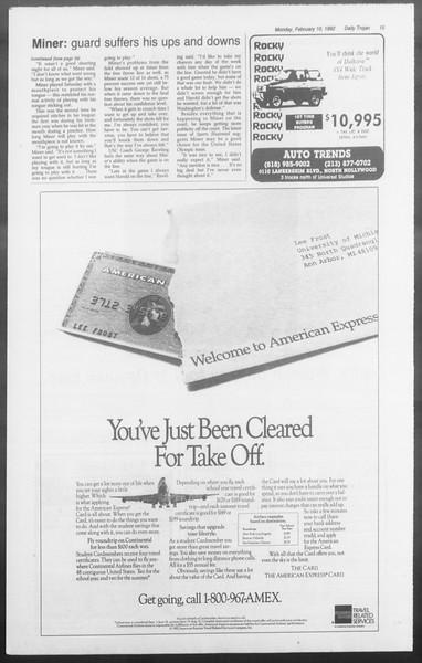 Daily Trojan, Vol. 117, No. 18, February 10, 1992