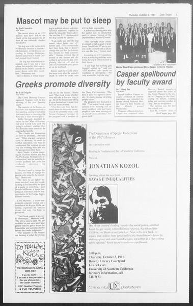 Daily Trojan, Vol. 116, No. 23, October 03, 1991