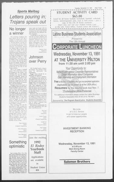 Daily Trojan, Vol. 116, No. 50, November 12, 1991