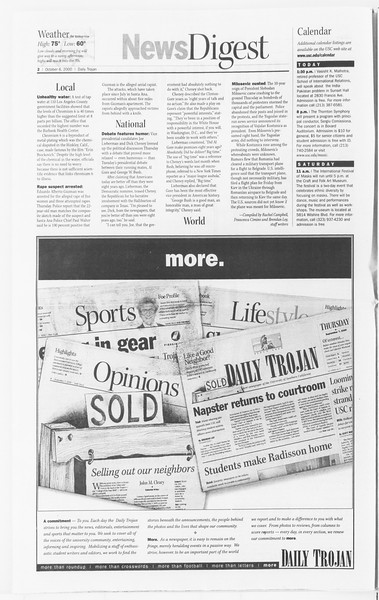 Daily Trojan, Vol. 141, No. 28, October 06, 2000