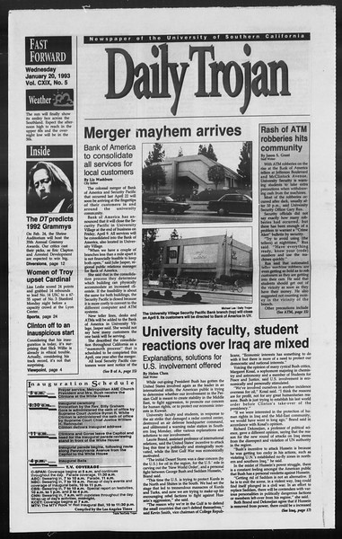 Daily Trojan, Vol. 119, No. 5, January 20, 1993