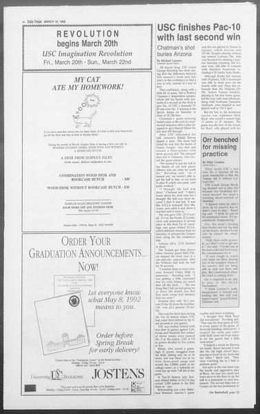 Daily Trojan, Vol. 117, No. 41, March 16, 1992