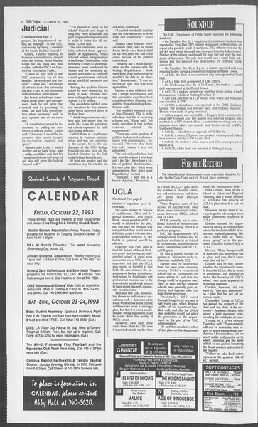 Daily Trojan, Vol. 121, No. 38, October 22, 1993