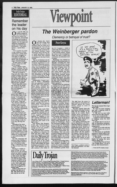 Daily Trojan, Vol. 119, No. 4, January 15, 1993