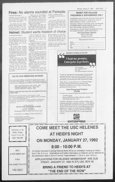 Daily Trojan, Vol. 117, No. 8, January 27, 1992
