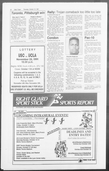 Daily Trojan, Vol. 116, No. 28, October 10, 1991