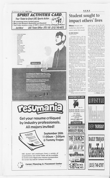 Daily Trojan, Vol. 141, No. 20, September 26, 2000