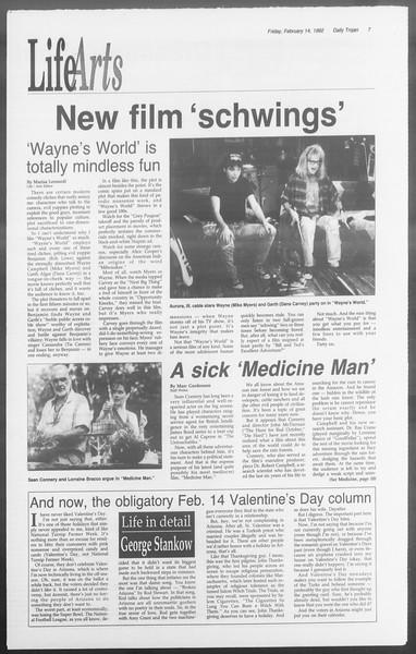 Daily Trojan, Vol. 117, No. 22, February 14, 1992