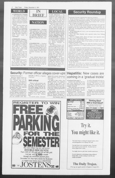 Daily Trojan, Vol. 116, No. 64, December 06, 1991