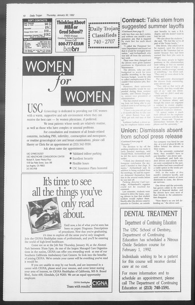 Daily Trojan, Vol. 117, No. 11, January 30, 1992