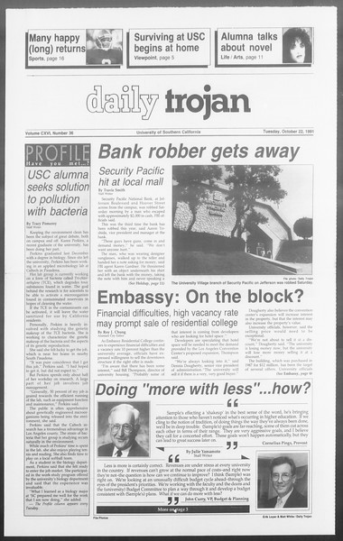 Daily Trojan, Vol. 116, No. 36, October 22, 1991