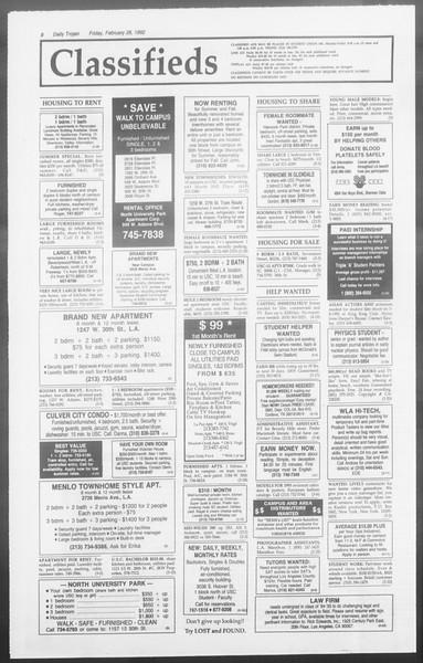 Daily Trojan, Vol. 117, No. 30, February 28, 1992