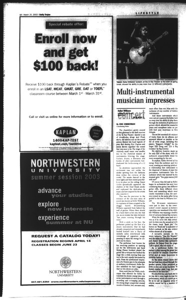 Daily Trojan, Vol. 148, No. 40, March 25, 2003