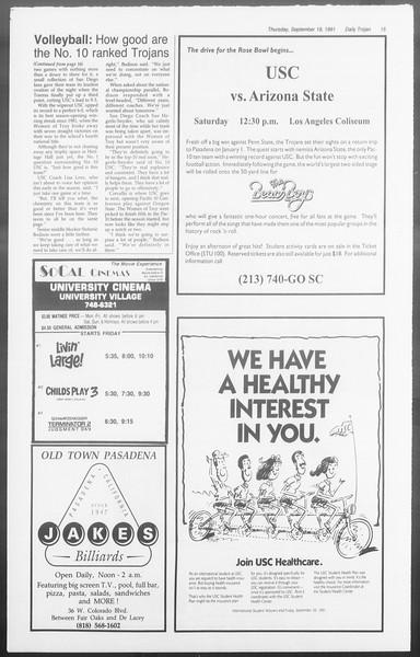 Daily Trojan, Vol. 116, No. 13, September 19, 1991