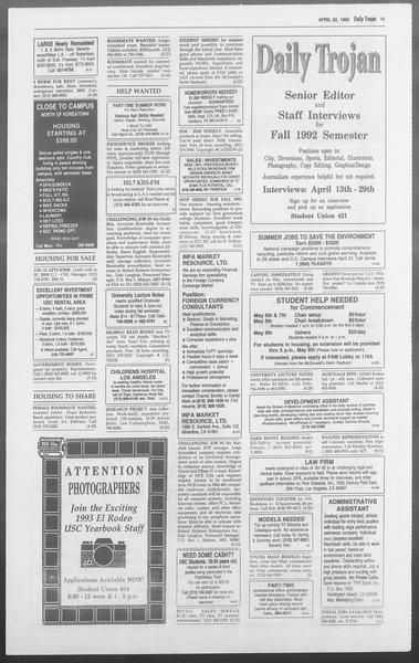 Daily Trojan, Vol. 117, No. 60, April 20, 1992