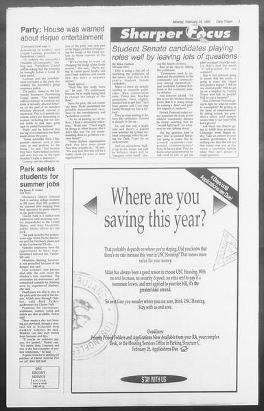 Daily Trojan, Vol. 117, No. 26, February 24, 1992