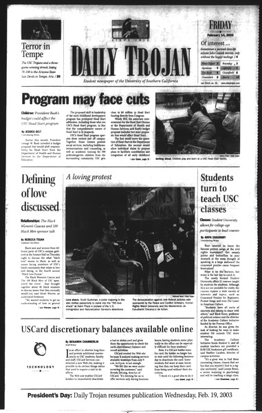 Daily Trojan, Vol. 148, No. 22, February 14, 2003