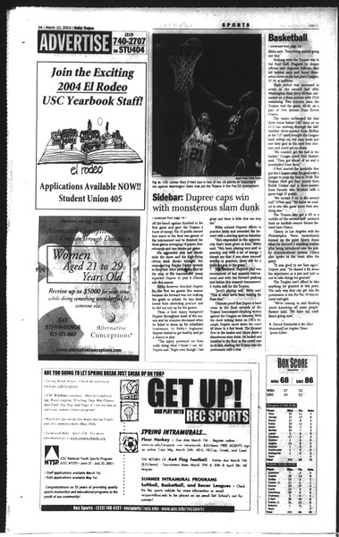 Daily Trojan, Vol. 148, No. 36, March 10, 2003