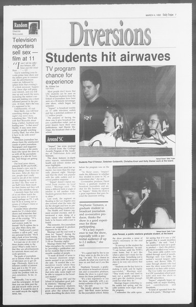 Daily Trojan, Vol. 117, No. 33, March 04, 1992