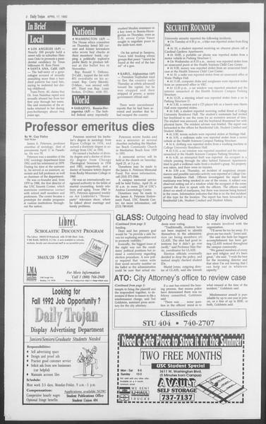 Daily Trojan, Vol. 117, No. 59, April 17, 1992
