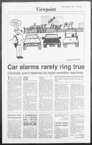 Daily Trojan, Vol. 116, No. 4, September 06, 1991