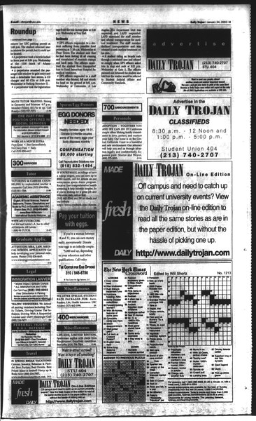 Daily Trojan, Vol. 148, No. 7, January 24, 2003
