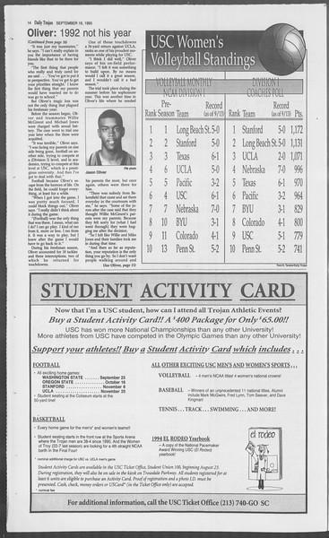 Daily Trojan, Vol. 121, No. 12, September 16, 1993